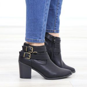 Pointy Toe Black Ankle Boots w/ Buckles